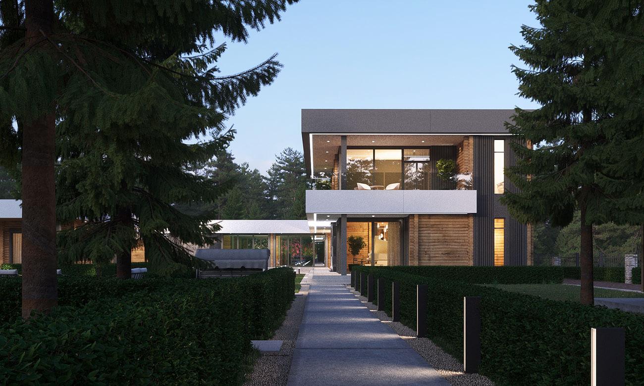 Деревянный дом в стиле минимализм в поселке Лазурный берег